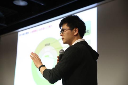 5月に渋谷ヒカリエで開催されたプレゼンイベント 「sprout#12」でfeeseのプレゼンをする重光さん。IBM特別賞を受賞。